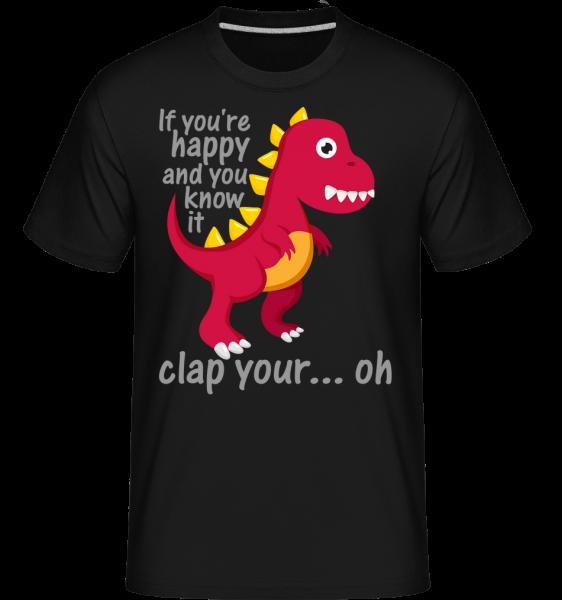 T-Rex Clap You Hands - Shirtinator Männer T-Shirt - Schwarz - Vorn