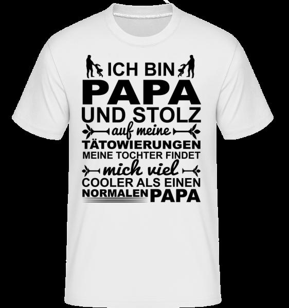 Papa Tattoos Tochter - Shirtinator Männer T-Shirt - Weiß - Vorn
