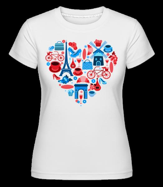 Paris Love Heart - Shirtinator Frauen T-Shirt - Weiß - Vorn
