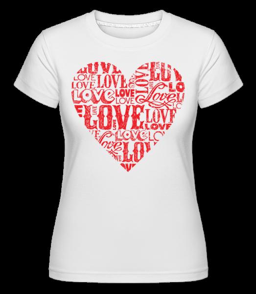 Love Heart Red - Shirtinator Frauen T-Shirt - Weiß - Vorn