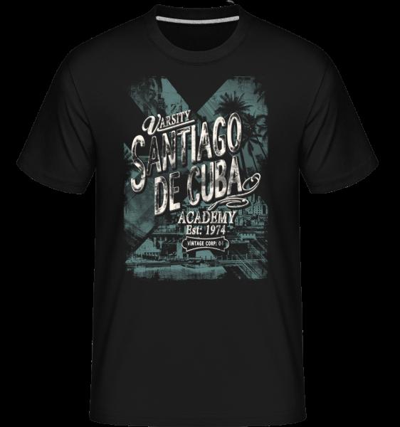 Varsity Santiago De Cuba - Shirtinator Männer T-Shirt - Schwarz - Vorn