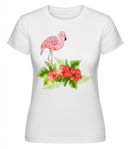 Flamingo In Paradise - Shirtinator Frauen T-Shirt - Weiß - Vorn