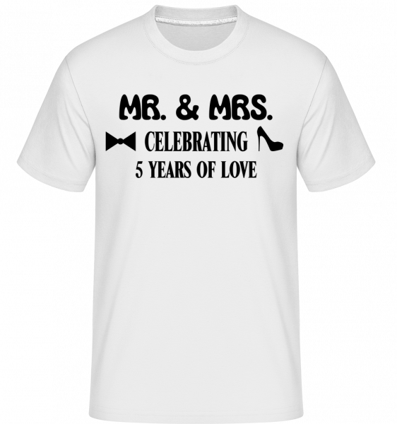 Mr. & Mrs. 5 Years Of Love - Shirtinator Männer T-Shirt - Weiß - Vorn