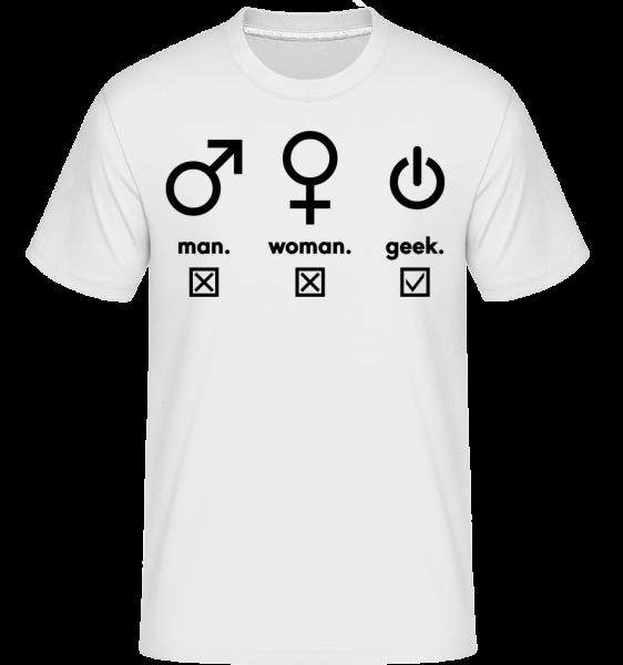Man Woman Geek Symbols - Shirtinator Männer T-Shirt - Weiß - Vorn
