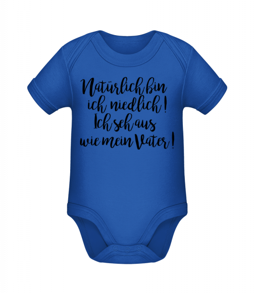 Of Course I'm Cute! Dad - Baby Bio Strampler - Royalblau - Vorn