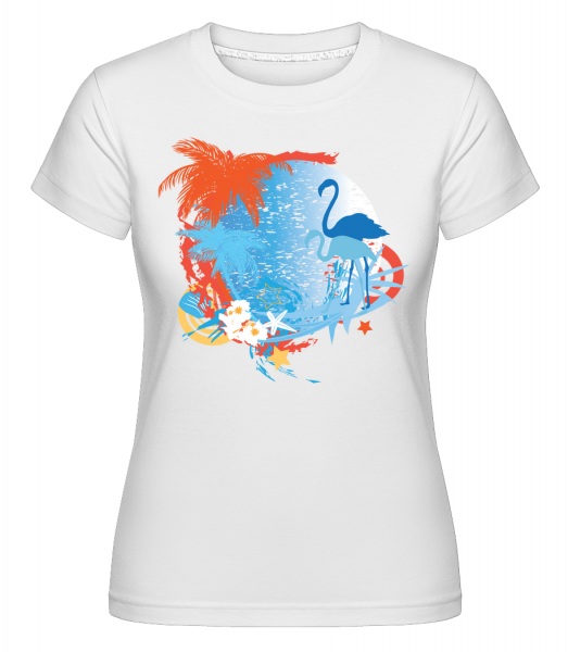 Flamingos In Paradise Blue/Orang - Shirtinator Frauen T-Shirt - Weiß - Vorn