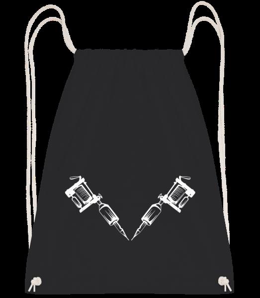 Tätowiermaschine Tattoo - Turnbeutel - Schwarz - Vorn