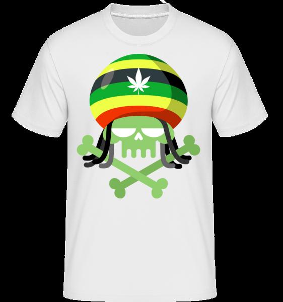 Marijuana Totenkopf - Shirtinator Männer T-Shirt - Weiß - Vorn