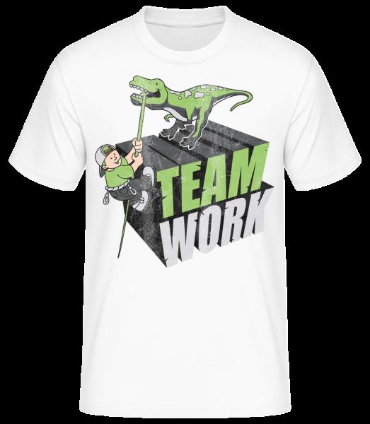 Dino Team Work - Basic T-Shirt - Weiß - Vorn