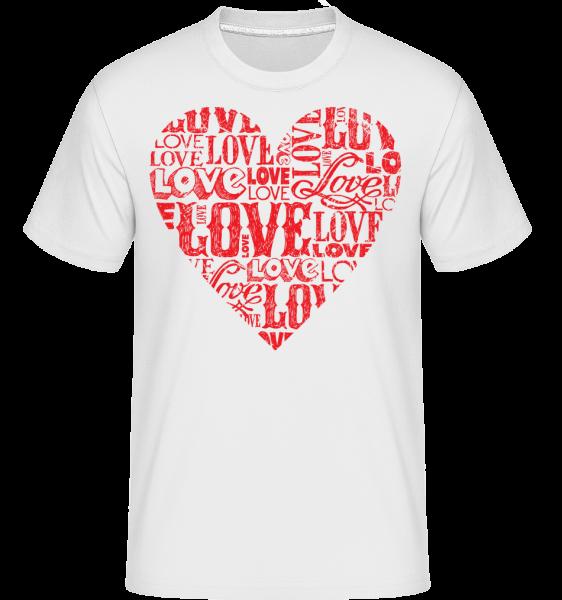 Love Heart Red - Shirtinator Männer T-Shirt - Weiß - Vorn