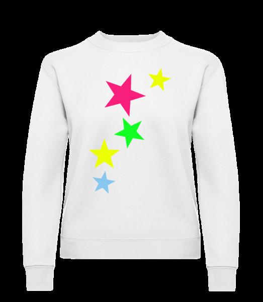 Bunte Sterne - Frauen Pullover - Weiß - Vorn
