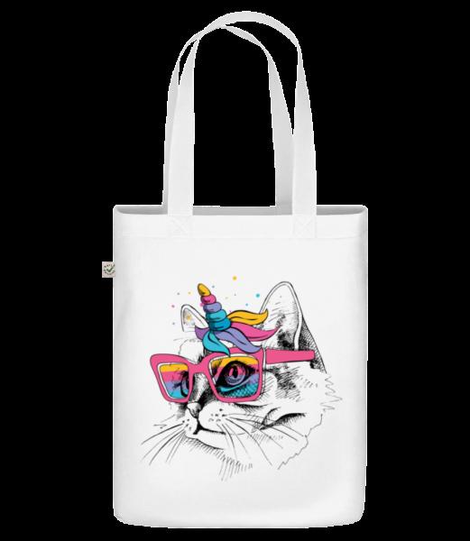 Einhorn Party Katze - Bio Tasche - Weiß - Vorn