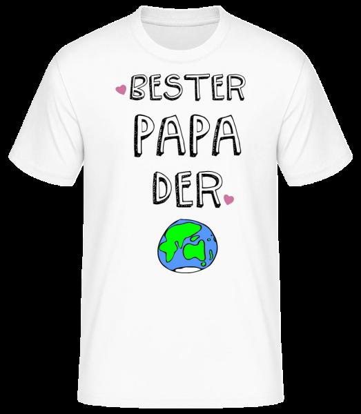 Bester Papa Der Welt - Männer Basic T-Shirt  - Weiß - Vorn
