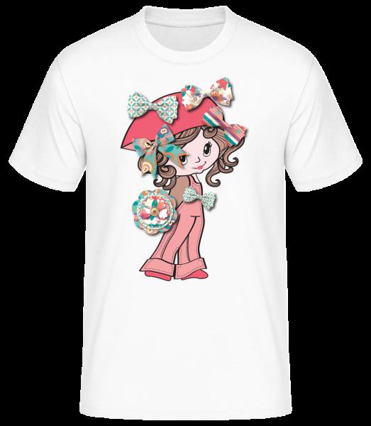Schleifenmädchen - Basic T-Shirt - Weiß - Vorn