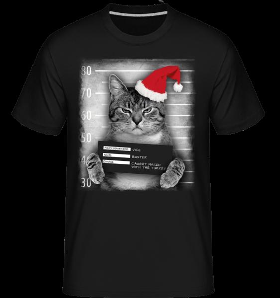 Cat XMas Guilty - Shirtinator Männer T-Shirt - Schwarz - Vorn