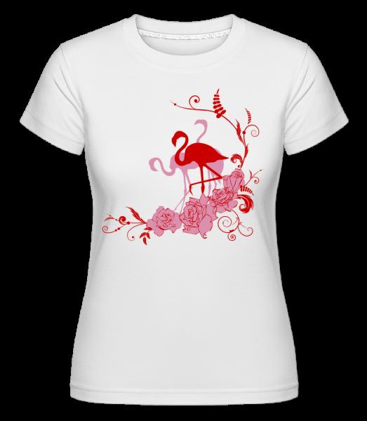 Flamingos Flowers - Shirtinator Frauen T-Shirt - Weiß - Vorn