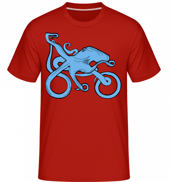 Motorrrad Oktopus - Shirtinator Männer T-Shirt - Rot - Vorn