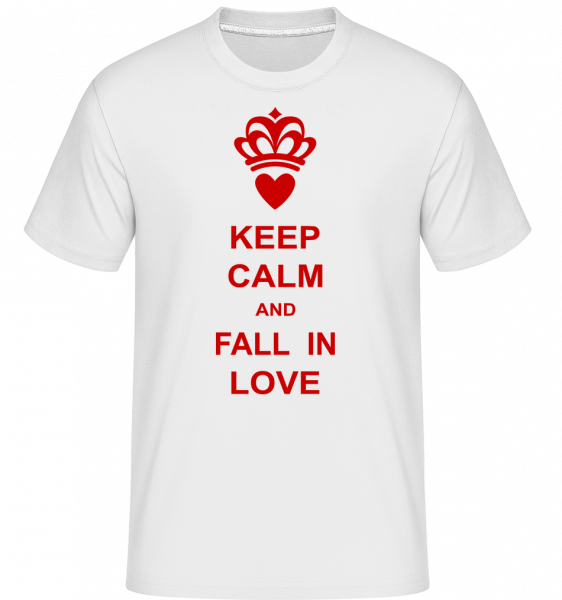 Keep Calm And Fall In Love - Shirtinator Männer T-Shirt - Weiß - Vorn