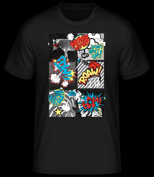 Comic Tiere - Basic T-Shirt - Schwarz - Vorn