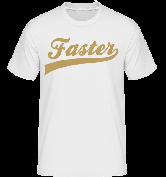 Faster Schriftzug - Shirtinator Männer T-Shirt - Weiß - Vorn
