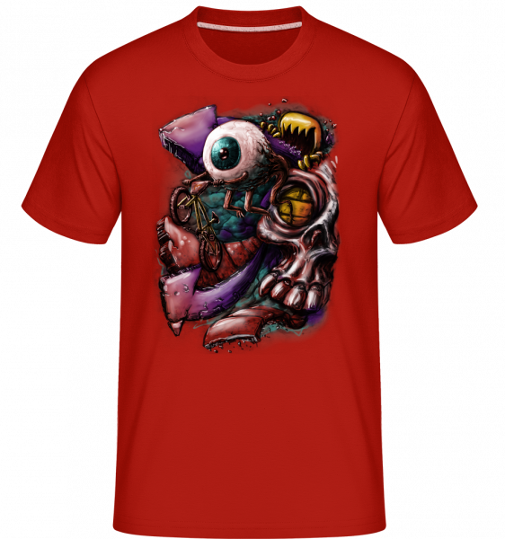 Augenflucht - Shirtinator Männer T-Shirt - Rot - Vorn