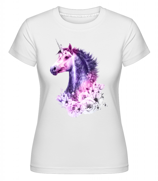 Blumen Einhorn - Shirtinator Frauen T-Shirt - Weiß - Vorn