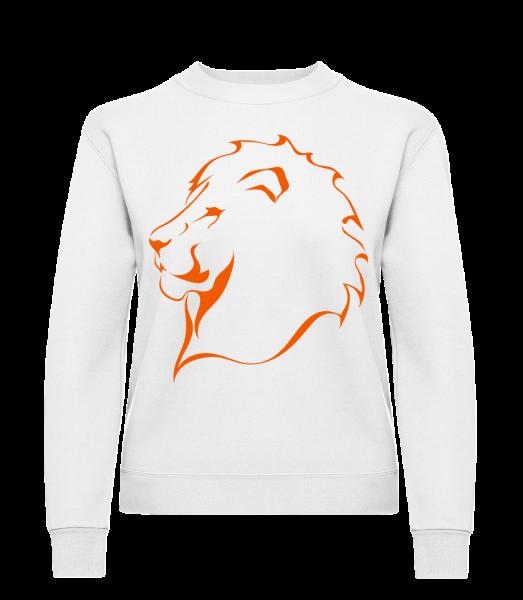 Löwe - Frauen Pullover - Weiß - Vorn