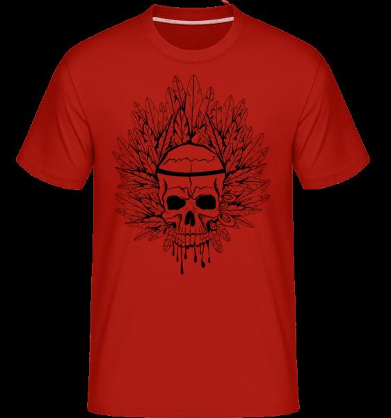 Totenkopf Indianer Tattoo - Shirtinator Männer T-Shirt - Rot - Vorn