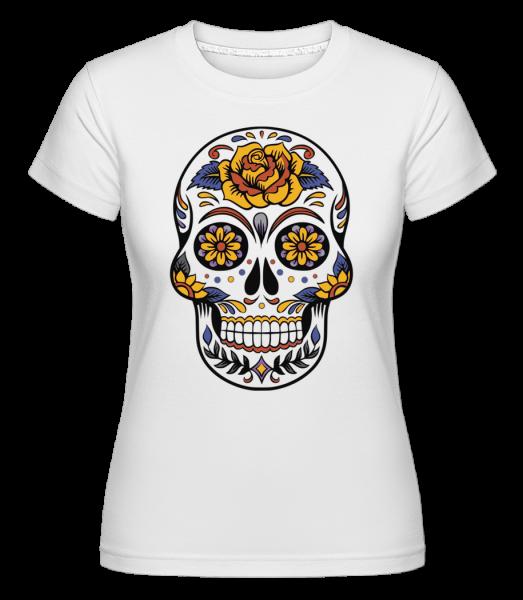 Dia De Los Muertos Totenkopf - Shirtinator Frauen T-Shirt - Weiß - Vorn